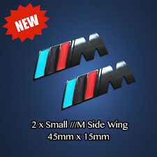 2 BLACK ///M Sport Tech Small Badge Side Wing Chrome Metal Emblem Decal BMW