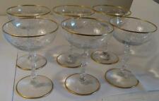 Vintage Crystal Gold Rim Floral Etched Wine Glass Stemware Set of 6