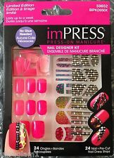 24pk Design Kit IMPRESS PRE-GLUED/ACRYLIC STICK-ON NAILS/DRAG QUEEN (HOT PINK)