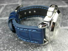 New BIG CROCO 20mm Blue LEATHER STRAP Blue Stitch watch Band OMEGA Seamaster