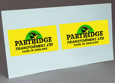 2 PARTRIDGE WATER SLIDE DECAL VINTAGE LOGO FOR AUDIO TRANSFORMERS PROJECT