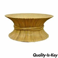 Vintage McGuire Style Hollywood Regency Wheat Sheaf Bamboo Rattan Coffee Table