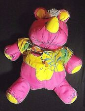 1987 FISHER PRICE HOT PINK RHINO PUFFALUMPS STUFFED TOY 18 INCHES LONG