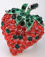 Strawberry Fruit Stretch Ring Crystal Rhinestone Fashion Jewelry RD26