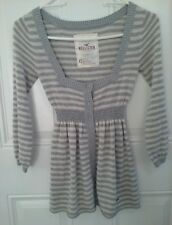 XSMALL HOLLISTER Button up Sweater Top Gray Striped Gathered Waist
