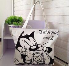 Cat and fish Women Tote Bag Shoulder Bag Handbag Canvas