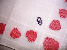 """Vintage Valentine Handkerchief- Woven Red Hearts On Border- 11"""" Square/New W/Tag"""