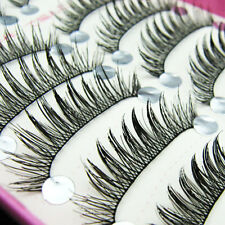 LONG FALSE EYELASHES NATURAL FAKE FALSE EYELASHES 10 PAIRS HANDMADE GOOD QUALITY