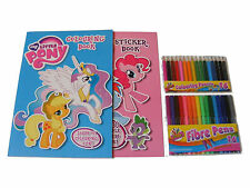 MY LITTLE PONY DA COLORARE LIBRO & ALBUM DI ADESIVI & 16 PENNE + 16 MATITE