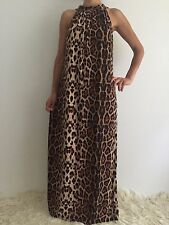 Women's Animal Print Party Sleeveless Casual Boho Maxi Summer Dress Size 14-16
