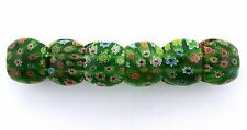 EMERALD GREEN MULTI COLOR FLORAL FLOWER MILLEFIORI GLASS STRETCH BRACELET mb4