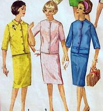 "Vintage 60s Suit JACKET & PENCIL SKIRT Sewing Pattern Bust 33"" Size 8 / 10 Retro"
