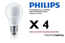 4 x Philips 7W (60W) E27 ES Edison Screw LED Lamps Bulbs 2700K Warm White