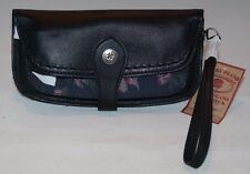 Vintage Lucky Brand Leather Wristlet Wallet Black/Floral HORUD673 NWT