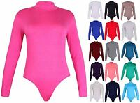 Womens Polo Turtle Neck Ladies Long Sleeve Leotard Stretch T-Shirt Top Plus Size