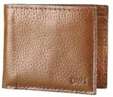New Ralph Lauren CHAPS Mens Genuine Tumbled Leather Wallet Brown w/ Passcase