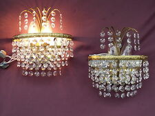 @ LOVELY FRENCH VINTAGE  GLASS CRYSTAL WALL LIGHTS  SCONCES  - CHABBY CHIC !!