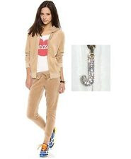 JUICY COUTURE J bling HOODIE AND SLIM PANT Velour Tracksuit Beige SET new L