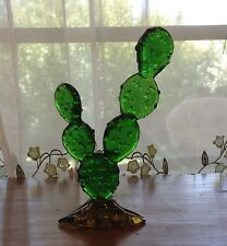 "BEAUTIFUL 5"" ART GLASS PRICKLY PEAR CACTUS FIGURINE"