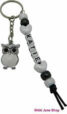 Personalised Name Owl Keyring White Snowy Wise Owl - Teacher Gift Bag Charm
