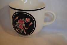 RARE House of Lloyd Evening Garden Tea Cup Black Pink Rose Ribbon 1991