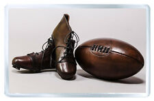 VINTAGE LEATHER RUGBY BALL & BOOTS FRIDGE MAGNET IMAN NEVERA