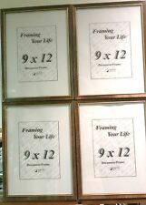 Four 9 x 12 Walnut with Gold Lip Wood Hanging Picture Frames/Glass/Backing/Hange