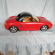 1998 Barbie Red Porsche Boxster Convertible Car. The motorized hard top works.