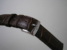 OMEGA 18MM BROWN LEATHER BAND STAINLESS STEEL SMALL LOGO BUCKLE