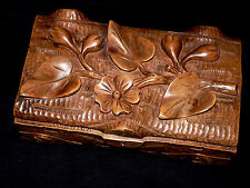 "late 19th c Victorian wood jewelry dresser BOX, Iwonic%, wild rose, buds, 10""w"