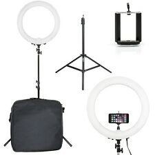 "Prismatic Halo 18"" Ring Light EURO with Phone Holder & 6' Light Stand 240V"