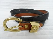 EUC DOONEY & BOURKE Navy Blue AWL Belt Gold accents S USA All Weather Leather