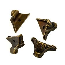 4x Retro Bronze Tone Carved Decorative Corner Brackets for Chest Gift Case Box