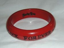 LUCKY Brand Lucky You Love and Luck Forever Red Lucite Plastic Bangle Bracelet