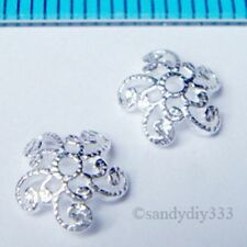 20x BRIGHT STERLING SILVER FLOWER FILIGREE BEAD CAP 7mm SPACER BEAD  N821A
