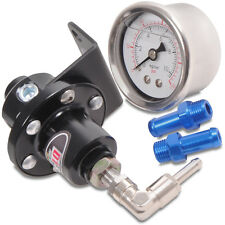 UNIVERSAL BLACK RACE DRIFT FUEL PRESSURE REGULATOR RAIL INJECTOR WITH GAUGE