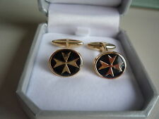 new 18ct yellow gold oval cufflinks maltese cross with black enamel barrel style