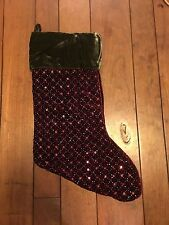 Pottery Barn Beaded Stocking NWOT Gorgeous Sequins & Beads Red & Green Velvet