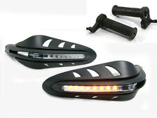BLACK Motorbike Handguards built in Indicators Turn Signals Heated Grips Package
