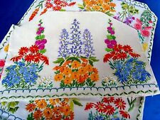 GORGEOUS VINTAGE HAND EMBROIDERED TABLECLOTH & TEA COSY RAISED COTTAGE FLOWERS