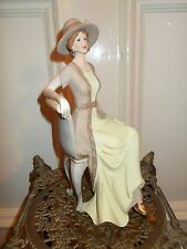 VINTAGE ART DECO LADY ELIZABETH ON CHAIR ELEGANT MANOR HOUSE FIGURINE STATUE