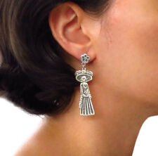 Mexico Day of the Dead 925 Sterling Taxco Silver Catarina Earrings