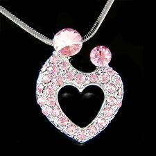 w Swarovski Crystal ~Pink Mother Love Baby Child Kids Heart Necklace Mothers Day