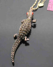 535#T    Betsey Johnson Crystal Lizard Pendant Sweater Chain Necklace