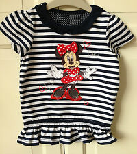 Mothercare Girls 12-18 Months Striped T-shirt Top Disney Minnie Mouse 1