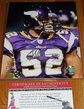 Minnesota Vikings Chad Greenway 52 Signed NFL 8x10 PHOTO CG HOLOGRAM Legends COA