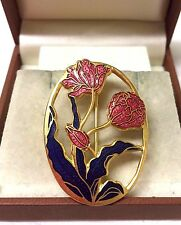 Vintage Firmado Peces & Crown Cloisonne Flor Broche Pin