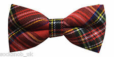 Mens Traditional Tartan Red & Black Pre Tied Ajustable Bow Tie One size