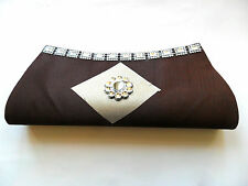 SMALL SATIN CLUTCH EVENING, PARTY, WEDDING, PROM, BRIDESMAID, HANDBAG Brown