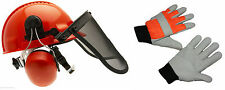 Chainsaw Safety Helmet With Steel Mesh Visor & XL Chainsaw Gloves